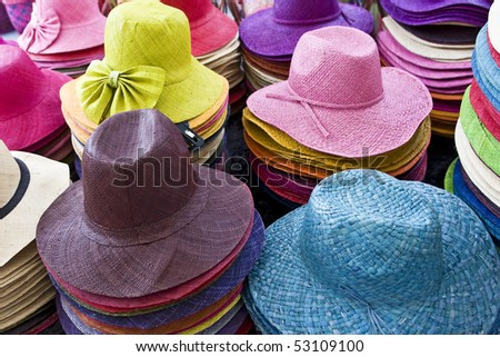 Pile of colorful hats