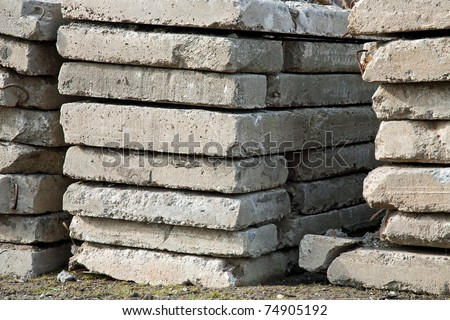 pile of concrete slabs construction - stock photo