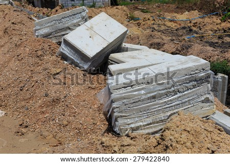 pile of concrete slabs road construction in thailand - stock photo