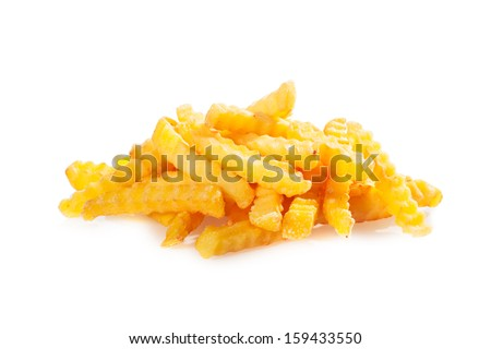 Pile of crinkle cut fried potato chips on a white background for a tasty, but unhealthy, takeaway fast food snack - stock photo