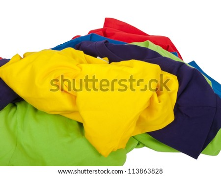 pile of crumpled colorful t shirts