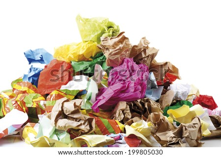 Pile of Crumpled Paper - stock photo
