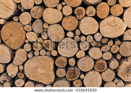 Pile of cut timber background - stock photo