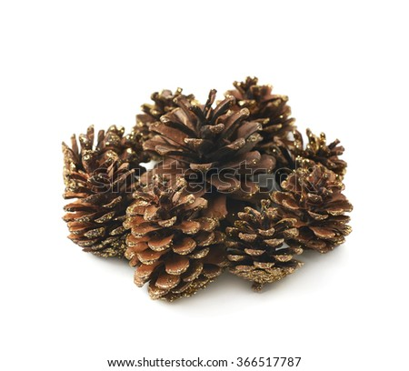 Pile of decorational cones isolated