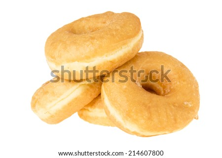 pile of delicious donut on white background - stock photo