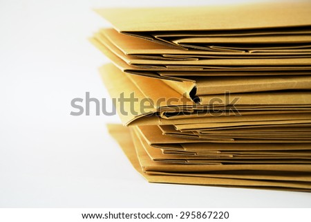 Pile of document on white background