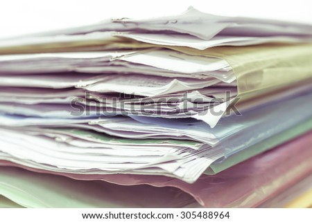 pile of documents - vintage style - stock photo