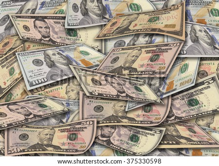 Pile of dollar banknotes in different currency 5 dollar, 10 dollar, 50 dollar and 100 dollar currency of the United States useful as a background - stock photo