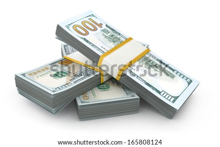pile of 100 dollar bills on a white background  - stock photo