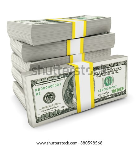Pile of dollars - stock photo