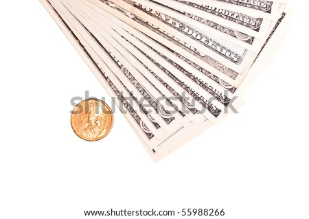 pile of dollars and one gold coin isolated on white - stock photo