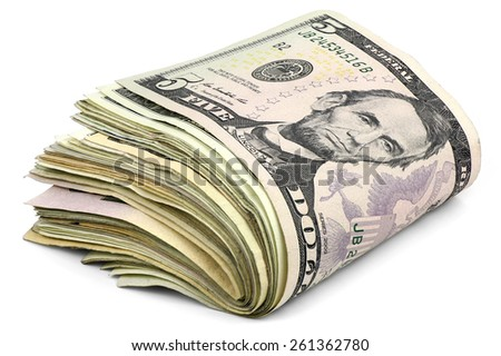 Pile of dollars banknotes isolated on a white background - stock photo