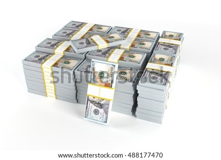 Pile of Dollars Cash Money Isolated on White Background. American Dollars 3D Render Illustration.