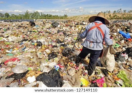 Pile of domestic garbage in Thailand. - stock photo
