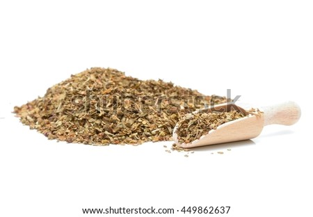 Pile of dried basil