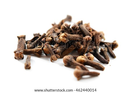 Pile of dried cloves (Syzygium aromaticum, family Myrtaceae) native to Maluku Islands, Indonesia
