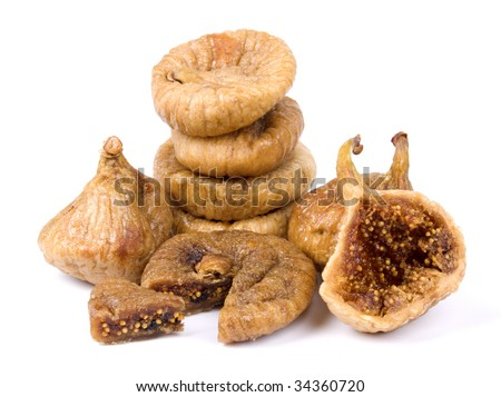 Pile of dried figs isolated on white background
