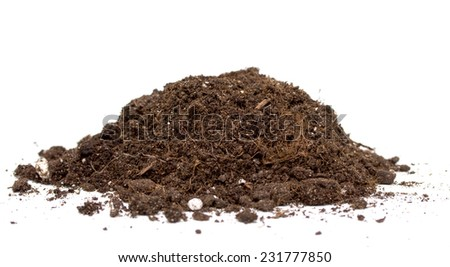 pile of earth on a white background