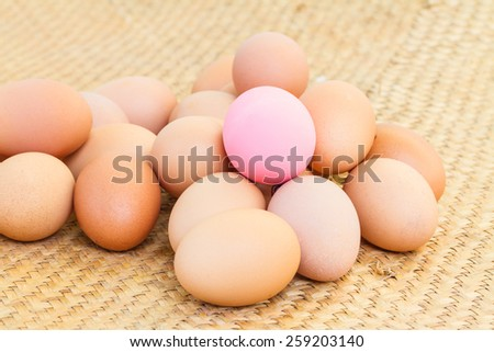 Pile of eggs on reed mat