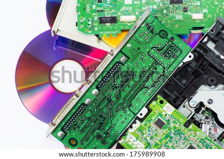 Pile of electronic waste. Old computer parts on white background. - stock photo