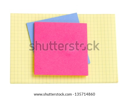 pile of empty notes  isolated on white background - stock photo
