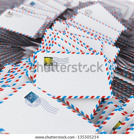 Pile of Envelopes, Letters. Image with Selective Focus. - stock photo