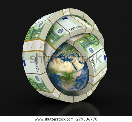 Pile of Euro and globe (clipping path included) Elements of this image furnished by NASA - stock photo