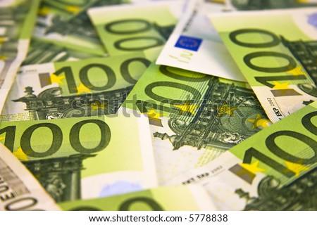 Pile of 100 Euro banknotes - stock photo