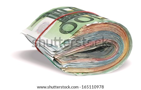 Pile of Euro banknotes isolated on a white background - stock photo