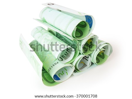 pile of 100 euro banknotes isolated on white - stock photo