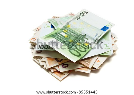 Pile of euro banknotes money - stock photo
