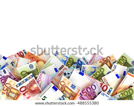 Pile of euro bills with space for text. 3D illustration