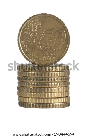 pile of 50 euro cent coins - stock photo
