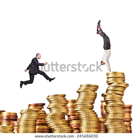 pile of euro coin on white background and business people - stock photo