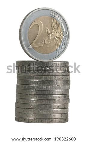 pile of euro coins - stock photo