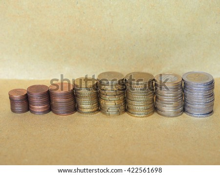 Pile of Euro coins currency of the European Union - selective focus on coins with blurred background copy space