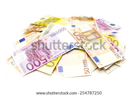 Pile of european currency bills isolated on white background  - stock photo