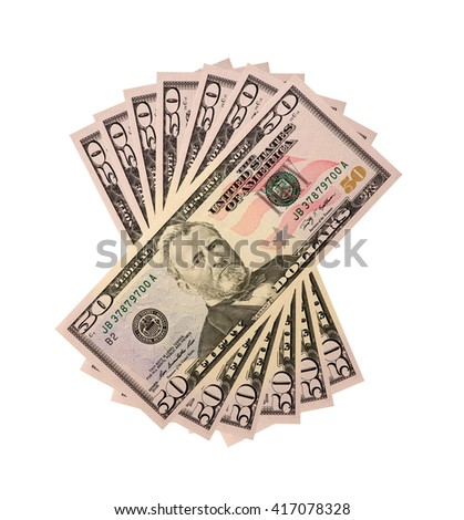 pile of fifty dollar US bills isolated on white background. - stock photo