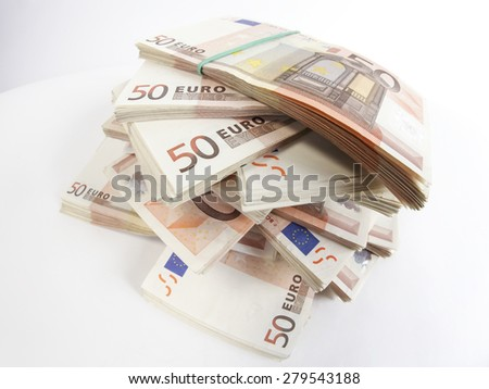 Pile of fifty euros banknotes - stock photo