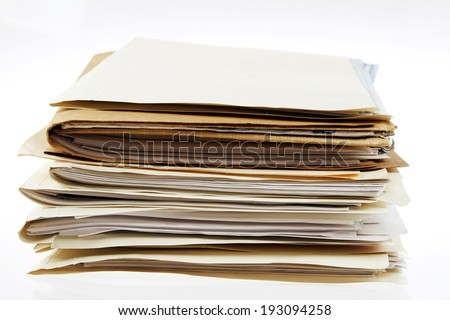 Pile of files on plain background - stock photo