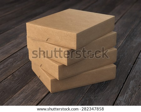 Pile of flat cardboard boxes - stock photo