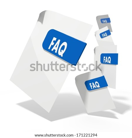 pile of flying 3d icons for faq documents in various perspective isolated on white background