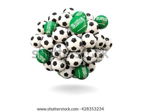 Pile of footballs with flag of saudi arabia. 3D illustration - stock photo