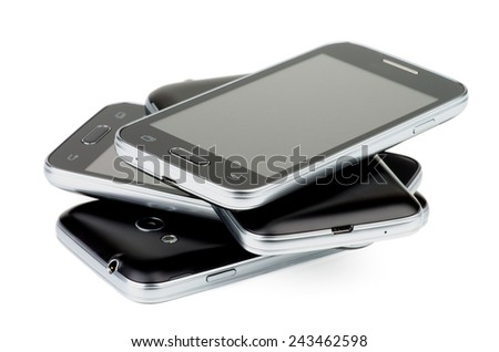Pile of Four Black Smartphones with Silver Details and Buttons isolated on white background