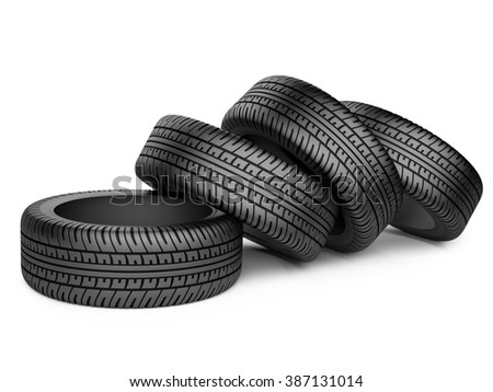 Pile of four new black wheel tyres for car. Isolated on white background 3d image