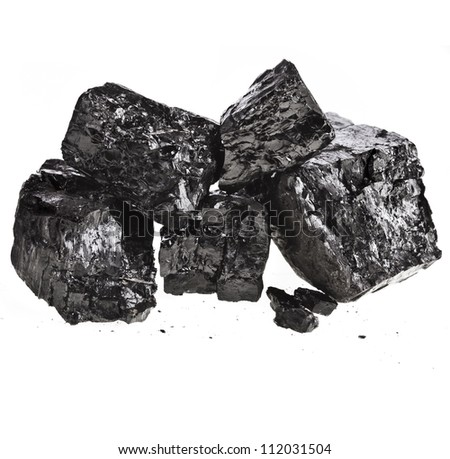 Pile of fractured black coal isolated on white background - stock photo