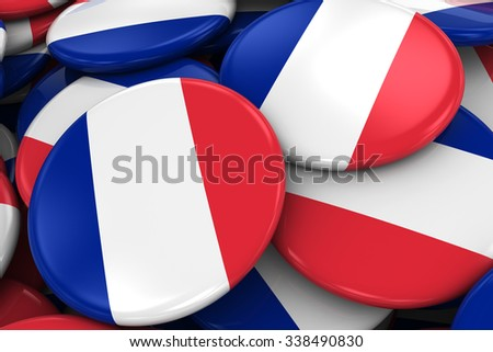 Pile of French Flag Badges - Flag of France Buttons piled on top of each other - stock photo