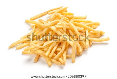 pile of french fries isolated on white