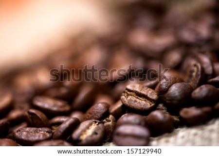 pile of fresh and bio aromatic coffee beans - stock photo