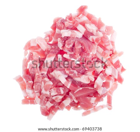 pile of fresh bacon pieces isolated on white background - stock photo